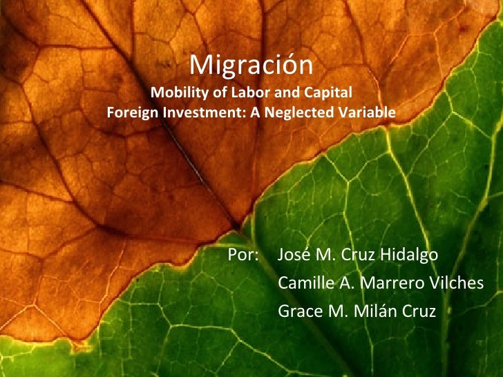 Migración Mobility of Labor and Capital Foreign Investment: A Neglected Variable Por:    José M. Cruz Hidalgo   Camille A....