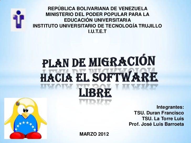 Migracion del software libre for Ministerio de migracion
