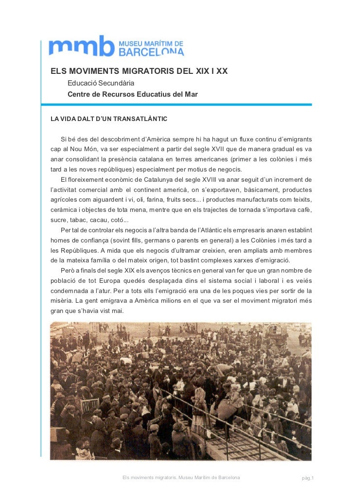 ELS MOVIMENTS MIGRATORIS DEL XIX I XX      Educació Secundària      Centre de Recursos Educatius del MarLA VIDA DALT D'UN ...