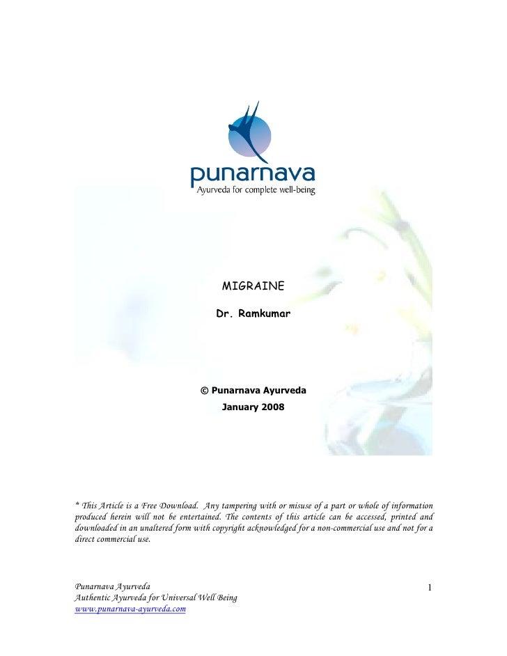MIGRAINE                                        Dr. Ramkumar                                       © Punarnava Ayurveda   ...