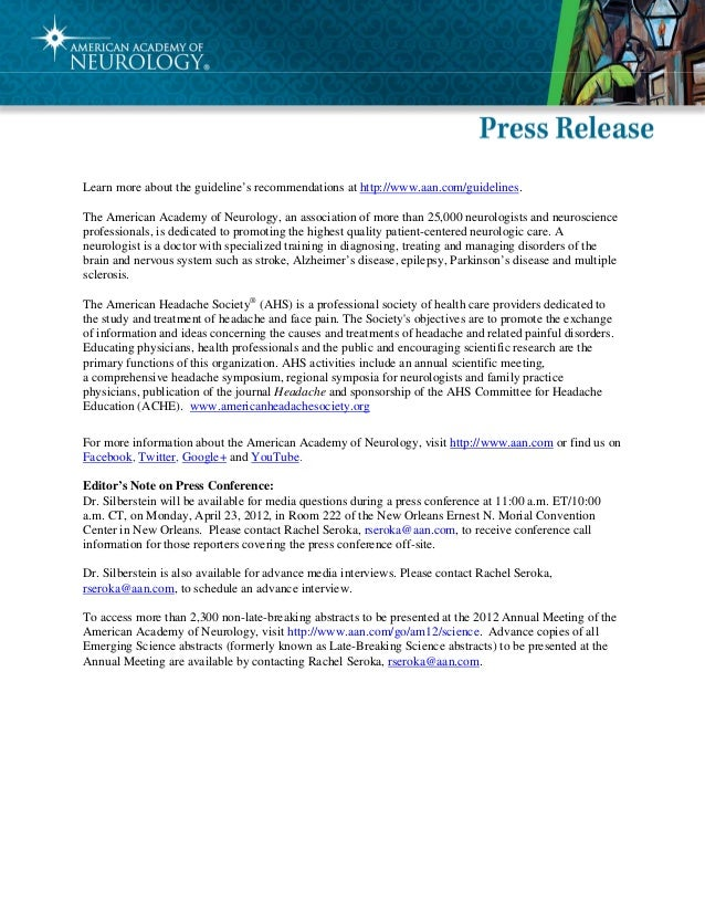 New Guidelines on Treating Migraine Press Kit