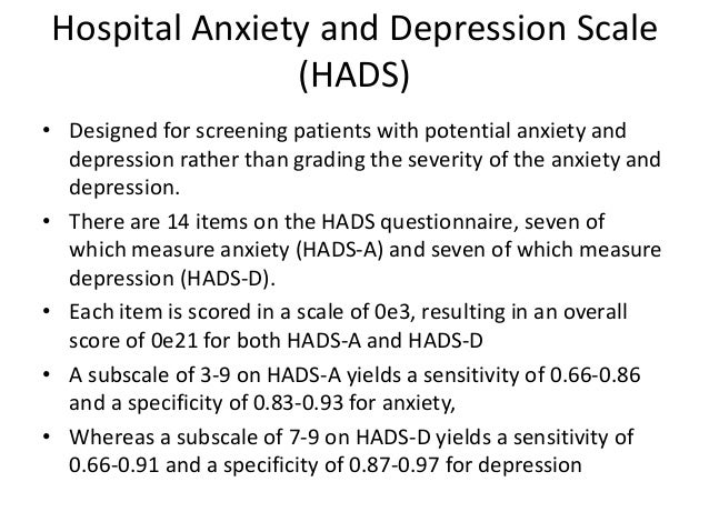 hospital anxiety and depression scale hads Use of the hospital anxiety and depression scale and the taiwanese depression questionnaire for screening hospital anxiety and depression scale (hads.