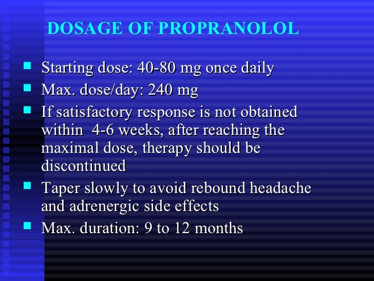 Inderal For Migraines Dosage