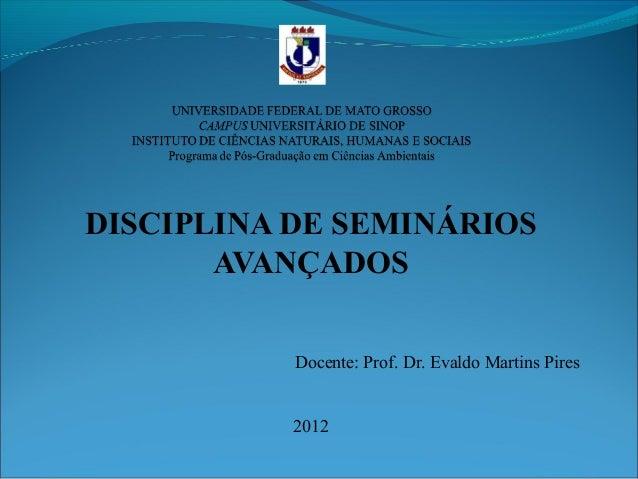 DISCIPLINA DE SEMINÁRIOS AVANÇADOS Docente: Prof. Dr. Evaldo Martins Pires 2012