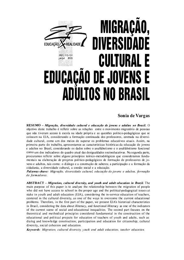 #til                           MIGRAÇAO,                         DIVERSIDADE                            28(1):113-131     ...