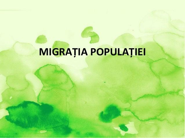 MIGRAŢIA POPULAŢIEI