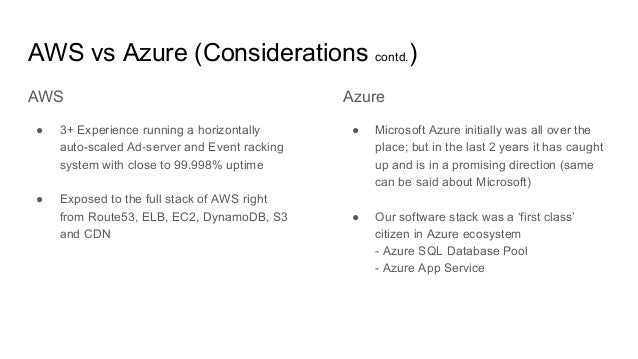 Azure ● Microsoft Azure initially was all over the place; but in the last 2 years it has caught up and is in a promising d...