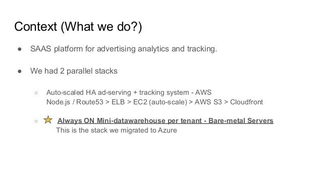 Context (What we do?) ● SAAS platform for advertising analytics and tracking. ● We had 2 parallel stacks ○ Auto-scaled HA ...