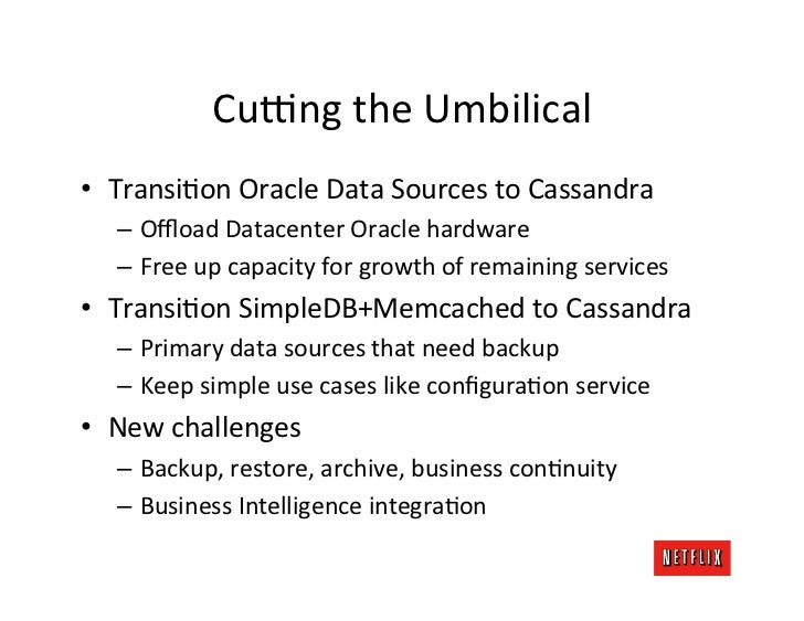 Cuvng the Umbilical • TransiKon Oracle Data Sources to Cassandra     – Offload Datacenter Oracle h...