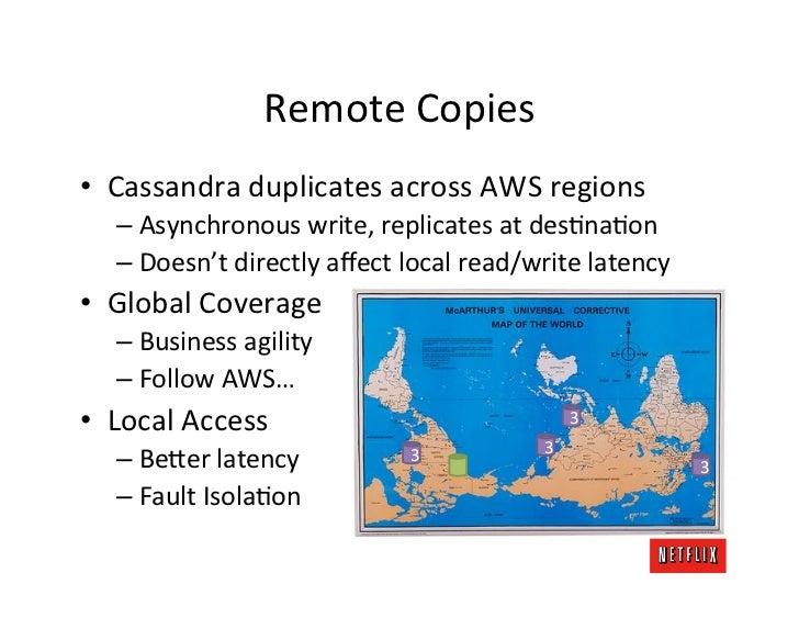 Remote Copies • Cassandra duplicates across AWS regions     – Asynchronous write, replicates at de...