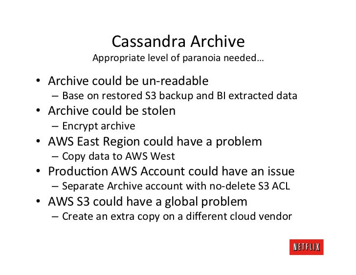Cassandra Archive                 Appropriate level of paranoia needed…        • Archive could be un-...