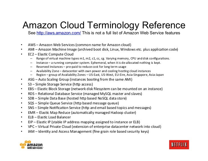 Amazon Cloud Terminology Reference     See http://aws.amazon.com/ This is not a full list of Amazon Web Service features•...