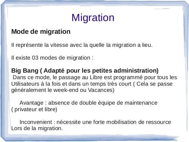 Migration Mode de migration Ilreprésentelavitesseaveclaquellelamigrationalieu. Ilexiste03modesdemigration...