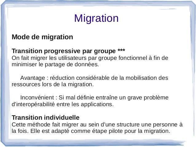 Migration Mode de migration  Transition progressive par groupe *** Onfaitmigrerlesutilisateurspargroupefonctionne...