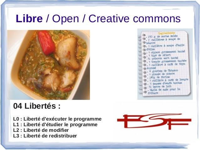 Libre/Open/Creativecommons 04 Libertés : L0 : Liberté d'exécuter le programme L1 : Liberté d'étudier le programme L2...