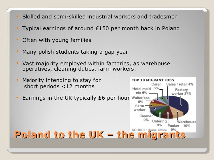 polish migration to uk Prior to the accession of poland into the eu, the british government estimated immigration from newly acceded countries between 5,000-13,000 people per year.