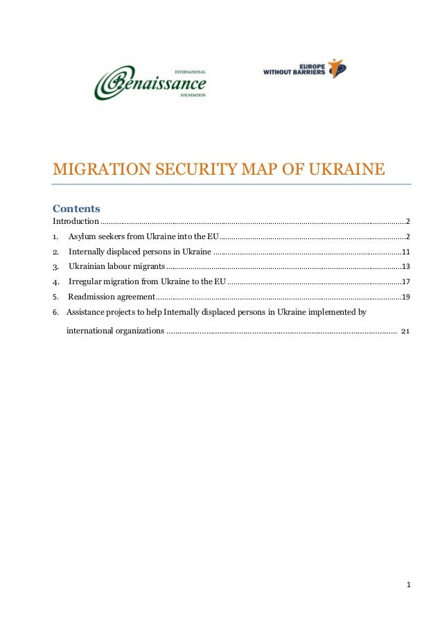 1 MIGRATION SECURITY MAP OF UKRAINE Contents Introduction ...................................................................