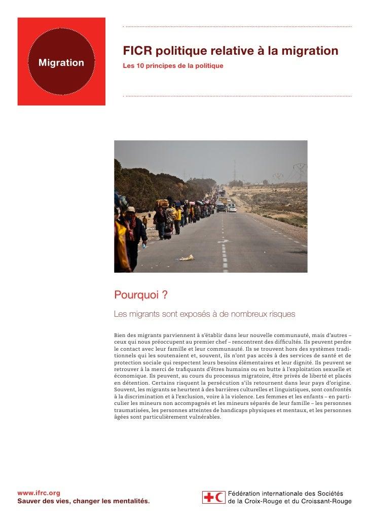 FICR politique relative à la migration      Migration                 Les 10 principes de la politique                    ...
