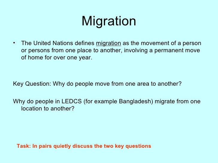 factors of migration Human migration factors migration, the movement of people from one place, origin or country to another1 for as long as man can remember migration has been a big part in our lives.