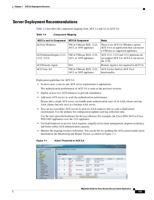 1-5 Migration Guide for Cisco Secure Access Control System 5.6 Chapter 1 ACS 5.6 Deployment Overview Server Deployment Rec...