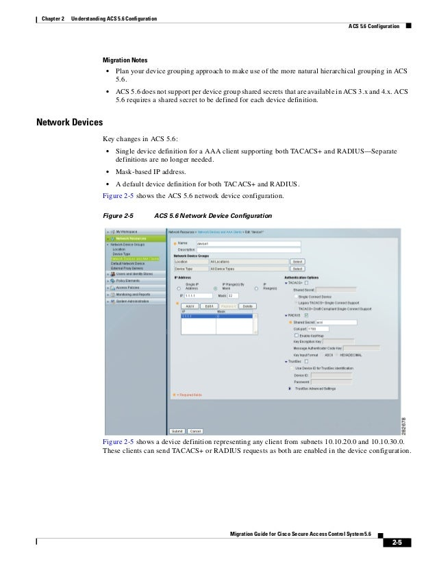 2-5 Migration Guide for Cisco Secure Access Control System 5.6 Chapter 2 Understanding ACS 5.6 Configuration ACS 5.6 Confi...