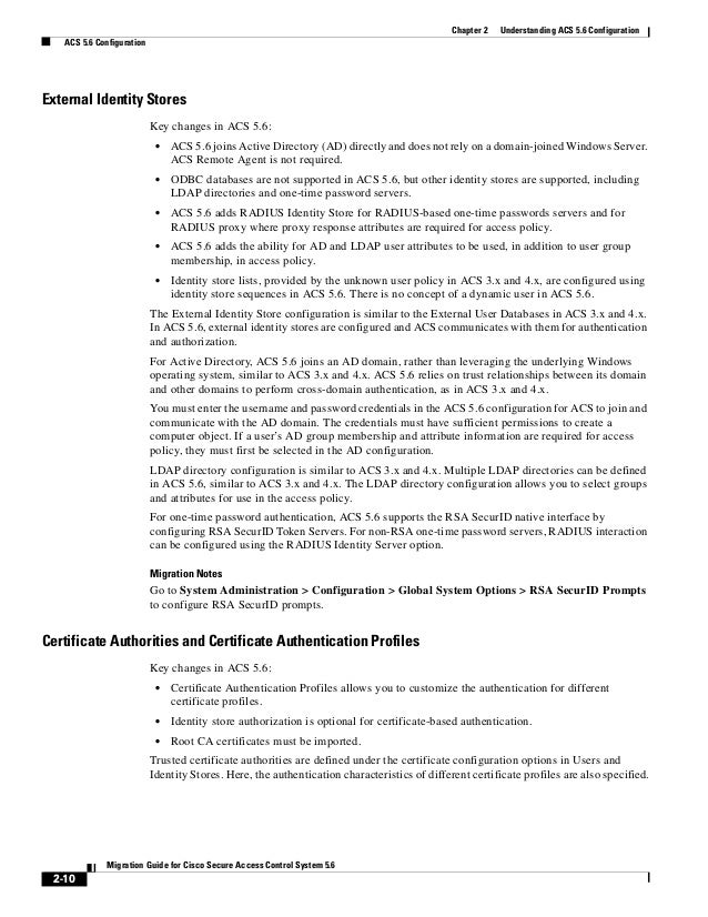 2-10 Migration Guide for Cisco Secure Access Control System 5.6 Chapter 2 Understanding ACS 5.6 Configuration ACS 5.6 Conf...