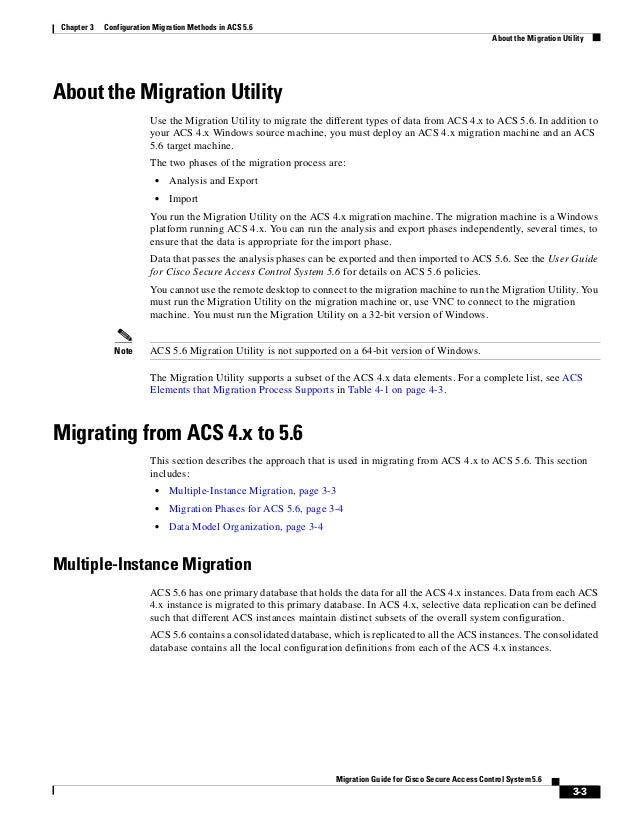 3-3 Migration Guide for Cisco Secure Access Control System 5.6 Chapter 3 Configuration Migration Methods in ACS 5.6 About ...