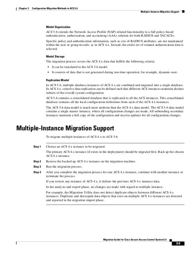 3-5 Migration Guide for Cisco Secure Access Control System 5.6 Chapter 3 Configuration Migration Methods in ACS 5.6 Multip...