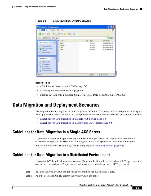 5-5 Migration Guide for Cisco Secure Access Control System 5.6 Chapter 5 Migration Utility Setup and Installation Data Mig...