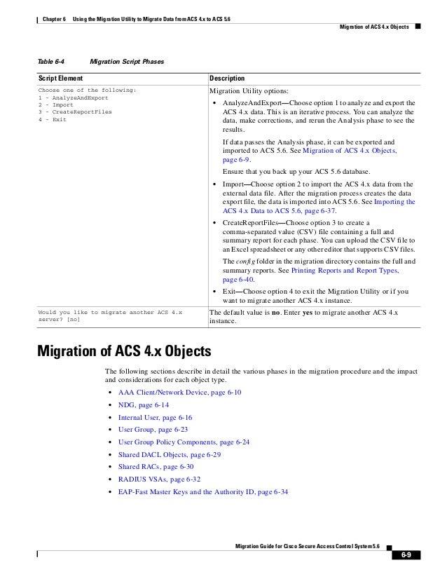 CISCO ACS 5.6 Migration Guide