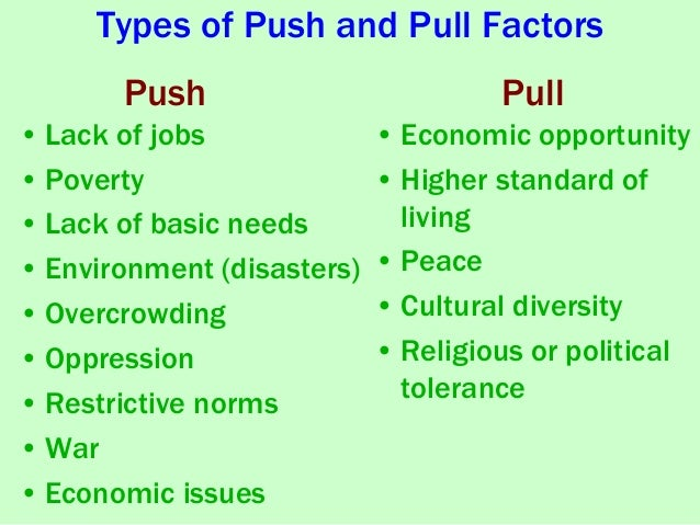 push and pull factors for immigrants to america Free essay: push and pull factors for chinese immigrants in many cases  throughout america's history immigrants have settled here for many different  reasons.