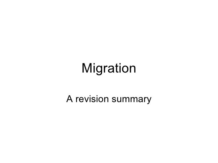 Migration A revision summary