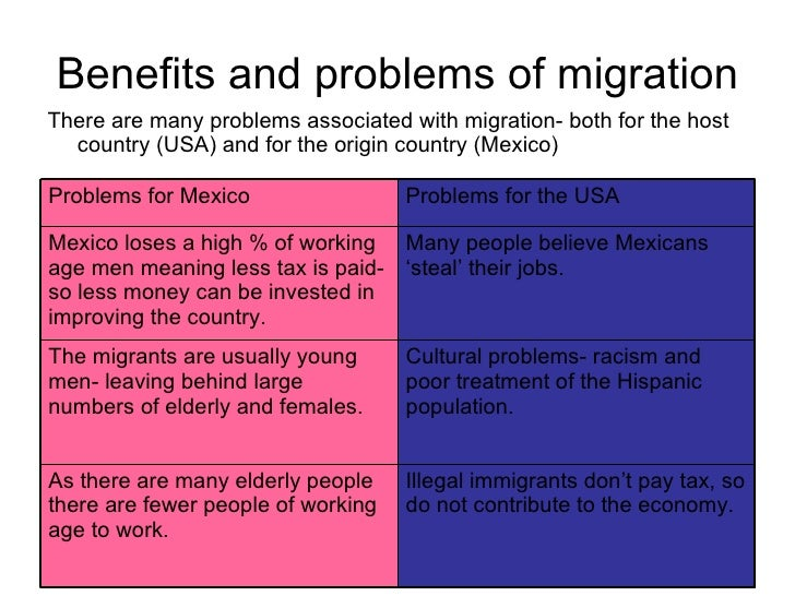 the benefits and problems of migration Impact of migration on economic and social development: a review of evidence and emerging issues i abstract: this paper provides a review of the literature on the development impact of migration.