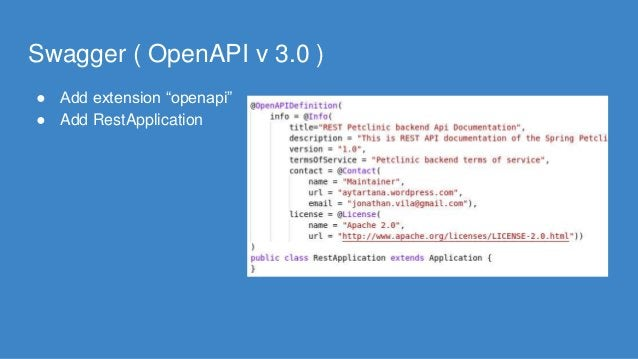 """Swagger ( OpenAPI v 3.0 ) ● Add extension """"openapi"""" ● Add RestApplication"""