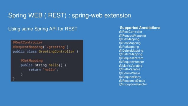 Spring WEB ( REST) : spring-web extension Using same Spring API for REST Supported Annotations @RestController @RequestMap...