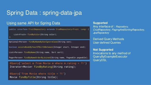 Spring Data : spring-data-jpa Using same API for Spring Data Supported Any interface of : Repository, CrudRepository, Pagi...