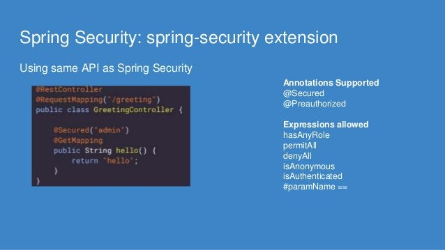 Spring Security: spring-security extension Using same API as Spring Security Annotations Supported @Secured @Preauthorized...
