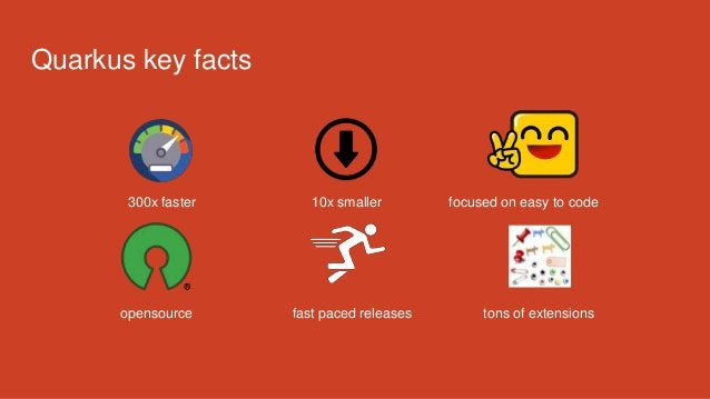 300x faster 10x smaller focused on easy to code opensource fast paced releases tons of extensions Quarkus key facts