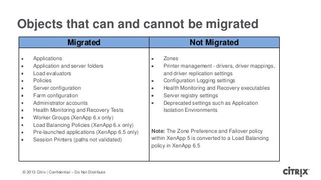 © 2013 Citrix   Confidential – Do Not DistributeObjects that can and cannot be migratedMigrated Not MigratedApplicationsAp...