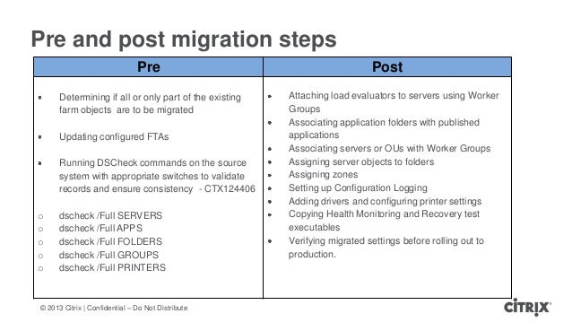 © 2013 Citrix   Confidential – Do Not DistributePre and post migration stepsPre PostDetermining if all or only part of the...