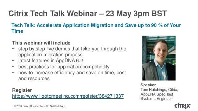 © 2013 Citrix   Confidential – Do Not DistributeCitrix Tech Talk Webinar – 23 May 3pm BSTTech Talk: Accelerate Application...
