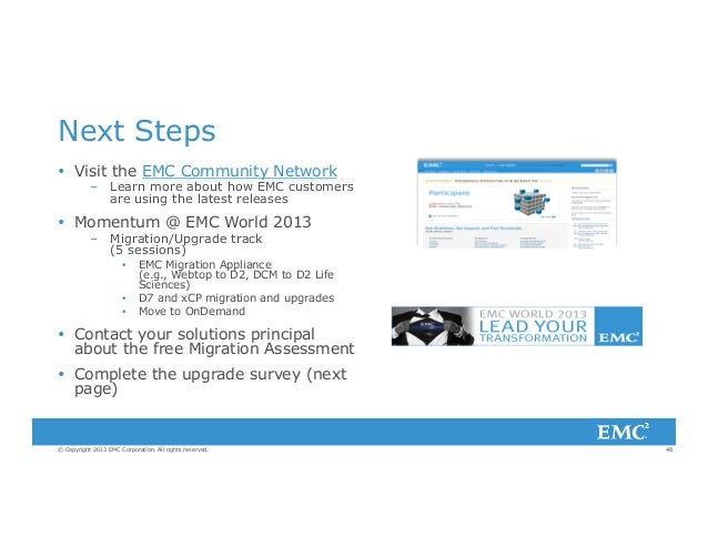 Migration & upgrades best practice upgrade pathways to emc