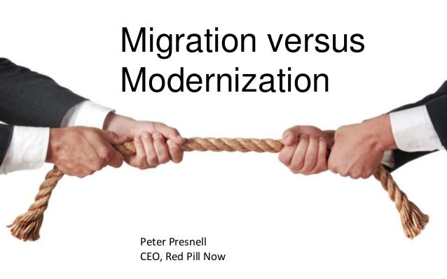 Migration versus Modernization Peter Presnell CEO, Red Pill Now