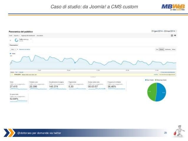 @dottorseo per domande via twitter 29 Caso di studio: da Joomla! a CMS custom
