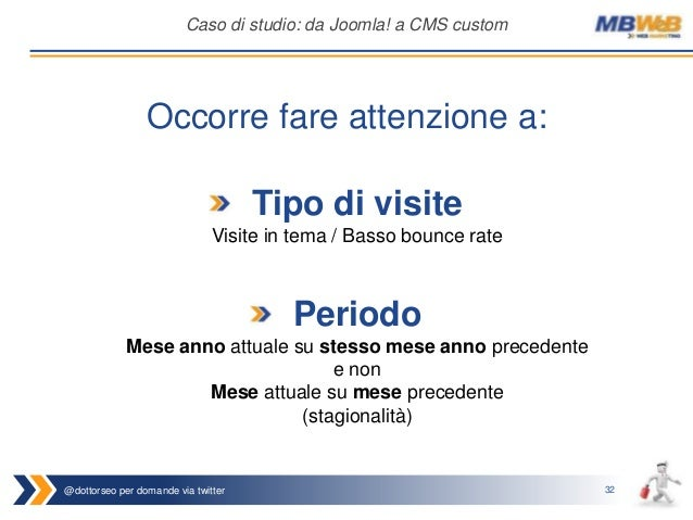 @dottorseo per domande via twitter 32 Caso di studio: da Joomla! a CMS custom Tipo di visite Visite in tema / Basso bounce...