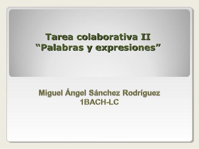 """Tarea colaborativa II""""Palabras y expresiones"""""""