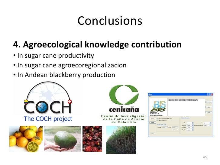 Conclusions4. Agroecological knowledge contribution• In sugar cane productivity• In sugar cane agroecoregionalizacion• In ...