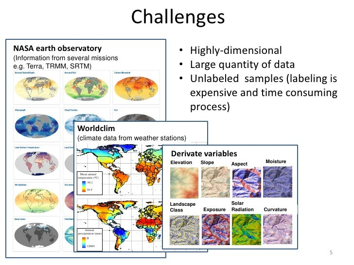 ChallengesNASA earth observatory                               • Highly-dimensional(Information from several missionse.g. ...