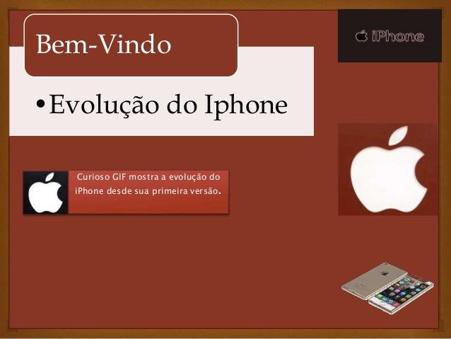 Bem-Vindo  •Evolução do Iphone  Curioso GIF mostra a evolução do  iPhone desde sua primeira versão.
