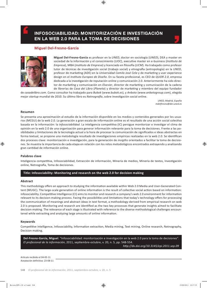 InFOSOCIABILIDAD: MOnITORIzACIón E InVESTIGACIón            En LA WEB 2.0 PARA LA TOMA DE DECISIOnES            Miguel Del...